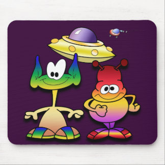 Friendly Aliens and a Flying Saucer Mouse Pad