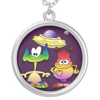 Friendly Aliens and a Flying Saucer Pendants