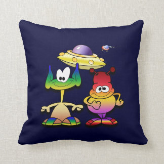 Friendly Aliens and a Flying Saucer Throw Pillows