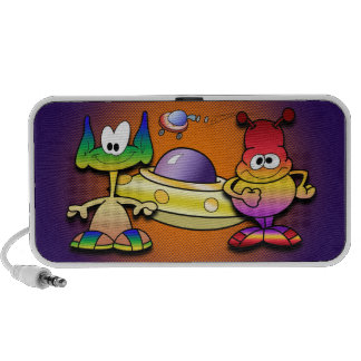 Friendly Aliens and a Flying Saucer Travel Speakers