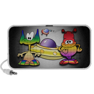 Friendly Aliens and a Flying Saucer Laptop Speakers