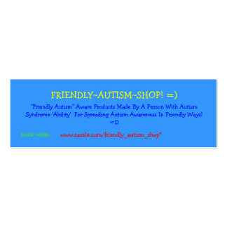 Friendly~Autism~Shop! =) Advertising Cards Double-Sided Mini Business Cards (Pack Of 20)