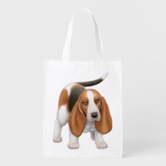 Friendly Basset Hound Dog Grocery Tote Bag