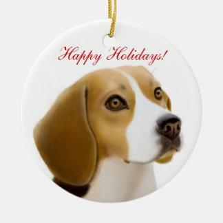Friendly Beagle Dog Holiday Ornament