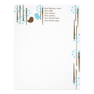 Friendly Birds in Blue Custom Letterhead