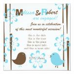 """Friendly Birds in Blue 5.25"""" Square Invitation Card"""