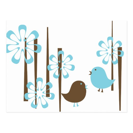 Friendly Birds in Blue Post Cards