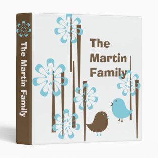 Friendly Birds in Blue Vinyl Binder