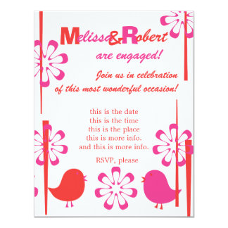 Friendly Birds in Red and Hot Pink Card