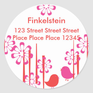 Friendly Birds in  Red and Hot Pink Classic Round Sticker