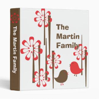 Friendly Birds in  Red Vinyl Binder