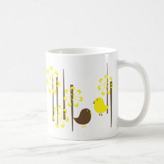Friendly Birds in Yellow Coffee Mugs