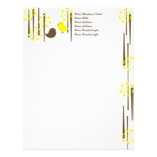 Friendly Birds in Yellow Personalized Letterhead