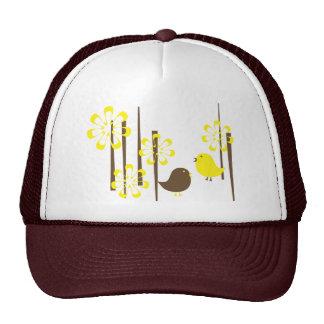 Friendly Birds in Yellow Trucker Hats