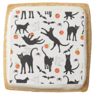 Friendly Black Cats Halloween Shortbread Cookies Square Sugar Cookie