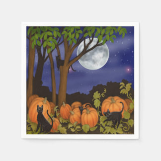 Friendly Black Cats in Pumpkin Patch Halloween Nap Paper Napkin