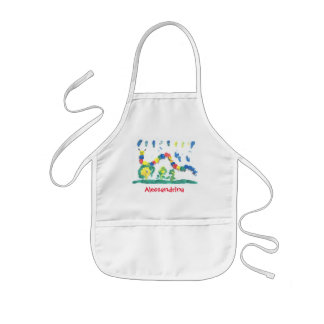 Friendly Bright Caterpillar with Custom Name Kids' Apron