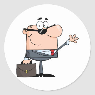 Friendly Businessman Waving A Greeting Classic Round Sticker