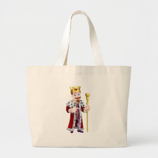 Friendly Cartoon King Pointing Large Tote Bag
