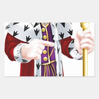 Friendly Cartoon King Pointing Rectangular Sticker