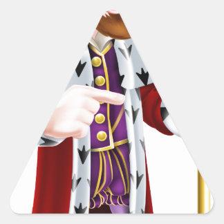 Friendly Cartoon King Pointing Triangle Sticker