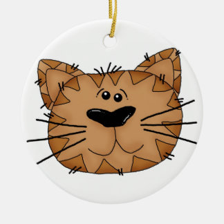 Friendly Cat Face Artwork Double-Sided Ceramic Round Christmas Ornament