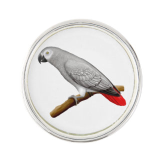 Friendly Congo African Gray Parrot Lapel Pin