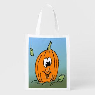 Friendly Cute Halloween Pumpkin Jack O' Lantern Reusable Grocery Bag