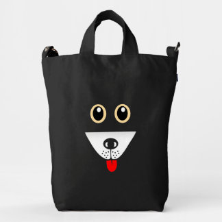 Friendly Dog Looks With Excitement On Baggu Bag