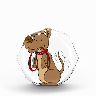Friendly Dog With Leash Cartoon Acrylic Award
