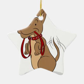 Friendly Dog With Leash Cartoon Ceramic Ornament