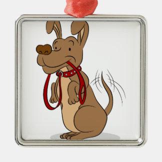 Friendly Dog With Leash Cartoon Metal Ornament