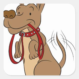 Friendly Dog With Leash Cartoon Square Sticker