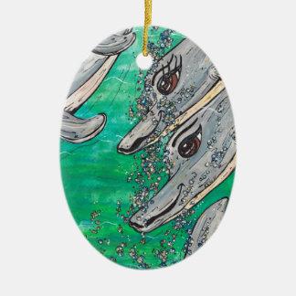Friendly Dolphin Pod Ceramic Ornament