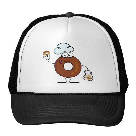 Friendly Donut Cartoon Character Holding A Donut Trucker Hat