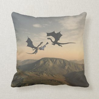 Friendly Dragon Companions Throw Pillow
