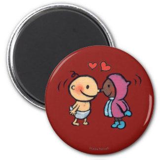 Friendly Eskimo Nose Kisses Kids 2 Inch Round Magnet