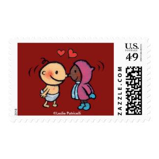Friendly Eskimo Nose Kisses Kids Stamp