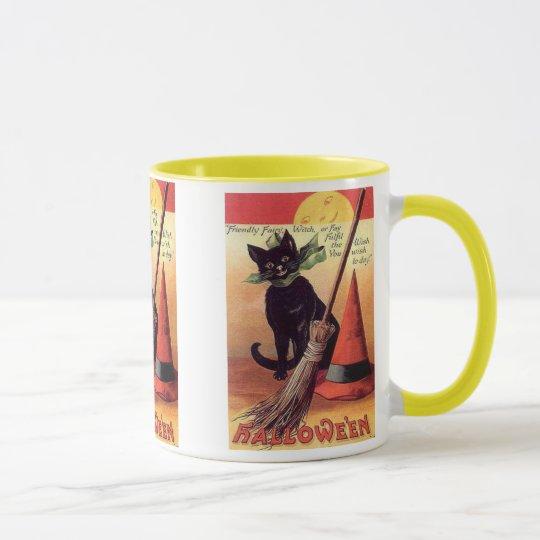 Friendly Fairy VIntage Halloween Card Mugs