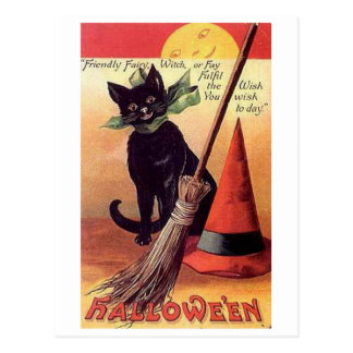 Friendly Fairy Vintage Halloween Postcard