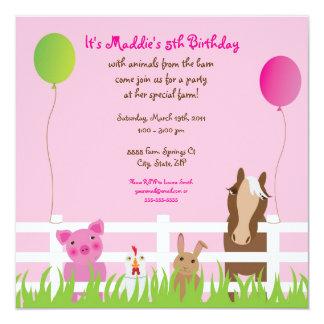 "Friendly Farm Animals Birthday Girl Invitation 5.25"" Square Invitation Card"