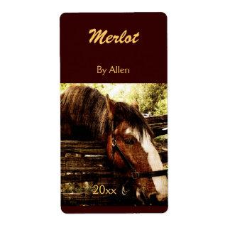 Friendly farm horse wine bottle label