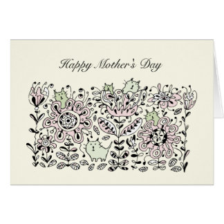Friendly Flower Cats Mother's Day Card