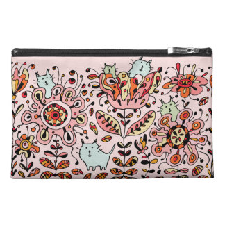 Friendly Flower Cats Pink Accessory Bag
