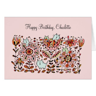 Friendly Flower Cats Pink Birthday Card