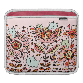 Friendly Flower Cats Pink iPad Sleeve