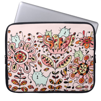 Friendly Flower Cats Pink Laptop Sleeve