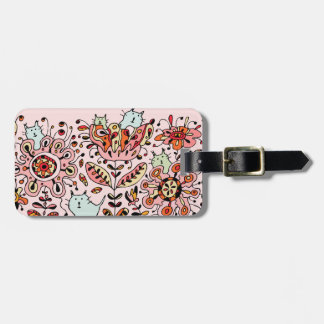 Friendly Flower Cats Pink Luggage Tag