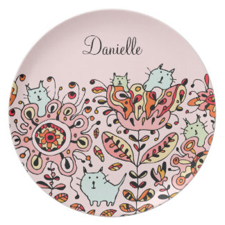 Friendly Flower Cats Pink Plate