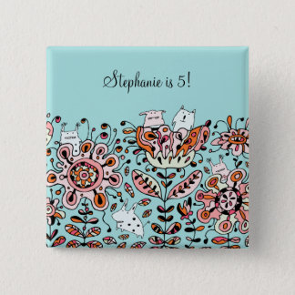 Friendly Flower Monsters Birthday Button